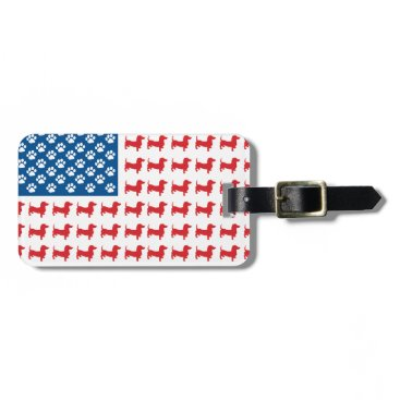 USA Themed Doxie-USA-FLAG-for-Darks Bag Tag