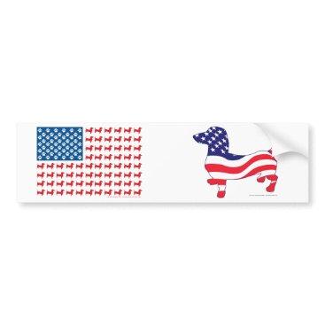 USA Themed Doxie-USA-FLAG-for-Darks Bumper Sticker