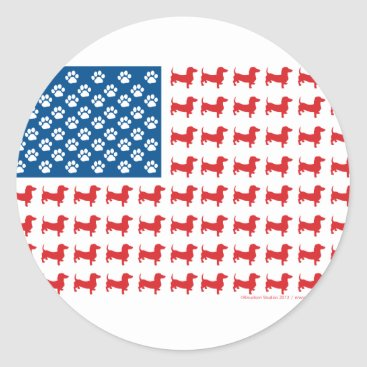 USA Themed Doxie-USA-FLAG-for-Darks Classic Round Sticker