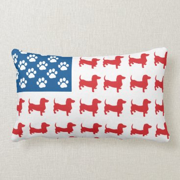USA Themed Doxie-USA-FLAG-for-Darks Lumbar Pillow