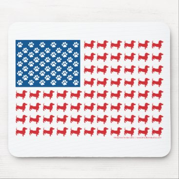 USA Themed Doxie-USA-FLAG-for-Darks Mouse Pad