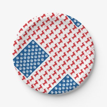 USA Themed Doxie-USA-FLAG-for-Darks Paper Plate