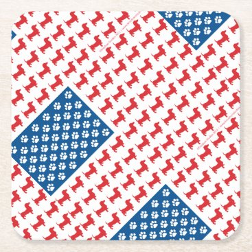 USA Themed Doxie-USA-FLAG-for-Darks Square Paper Coaster
