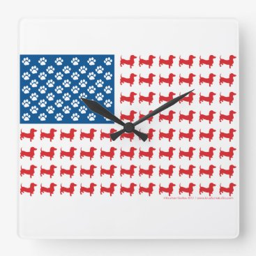 USA Themed Doxie-USA-FLAG-for-Darks Square Wall Clock