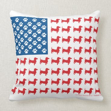 USA Themed Doxie-USA-FLAG-for-Darks Throw Pillow