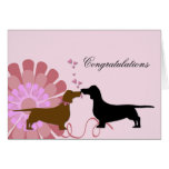 Doxie Wedding Engagement Congratulations Greeting Card