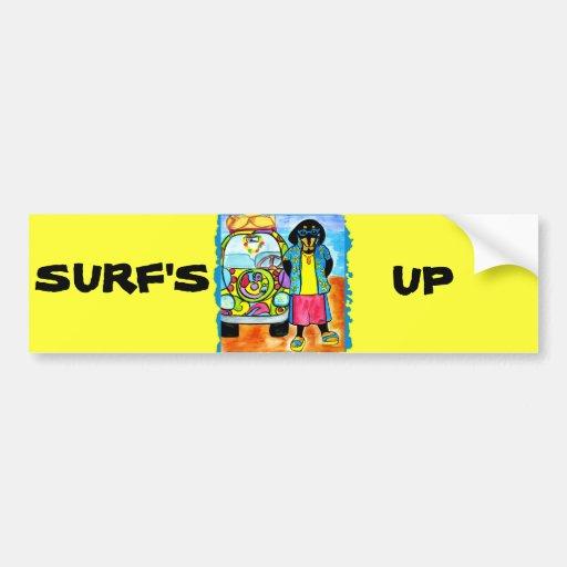 Doxies de la persona que practica surf y del motor pegatina de parachoque