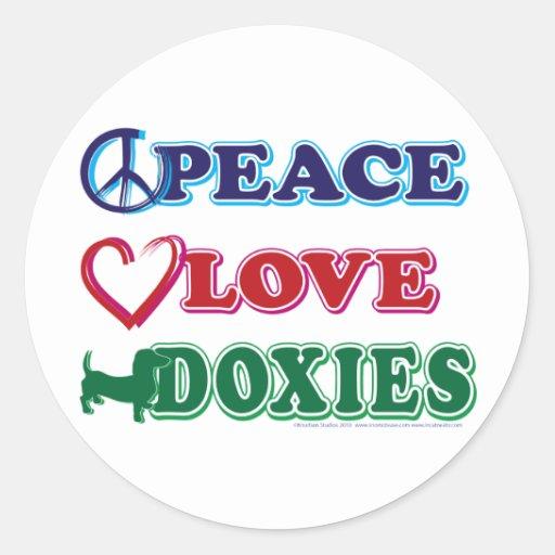 Doxies del amor de la paz pegatinas redondas