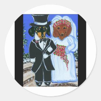 Doxies del boda pegatina redonda