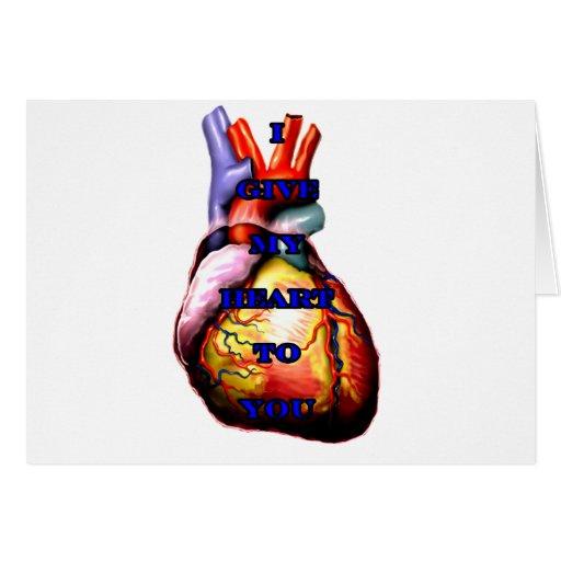 Doy a mi corazón usted el azul el regalo de Zazzle Felicitaciones