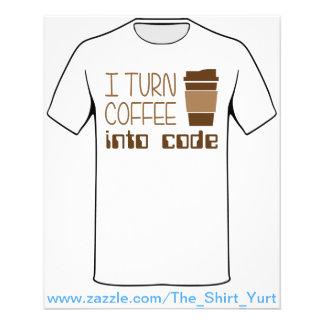 Doy vuelta al café en código programado tarjetas informativas