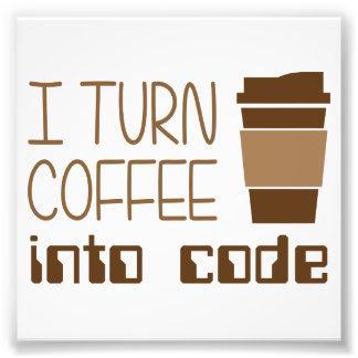 Doy vuelta al café en código programado fotografía