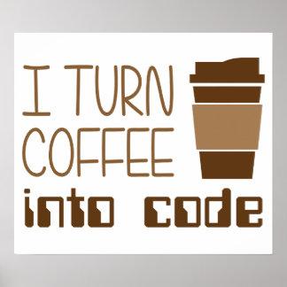 Doy vuelta al café en código programado posters