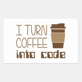 Doy vuelta al café en código programado pegatina rectangular