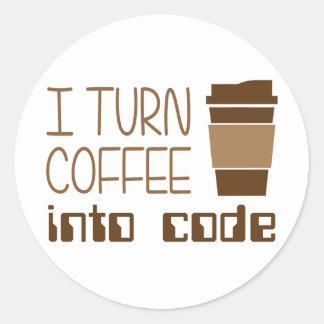 Doy vuelta al café en código programado pegatina redonda