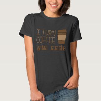 Doy vuelta al café en código programado polera