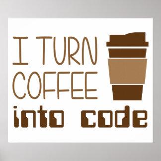 Doy vuelta al café en código programado póster
