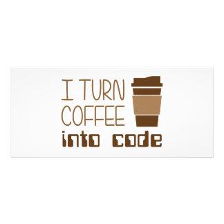 Doy vuelta al café en código programado tarjeta publicitaria personalizada