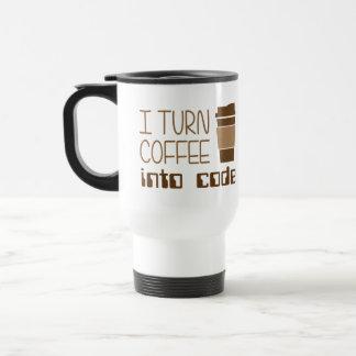 Doy vuelta al café en código programado taza de viaje de acero inoxidable