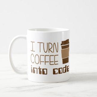 Doy vuelta al café en código programado taza básica blanca