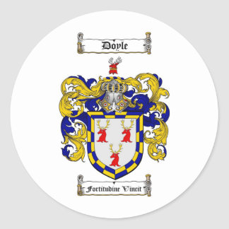 DOYLE FAMILY CREST -  DOYLE COAT OF ARMS ROUND STICKERS