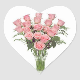 Dozen Pink Roses Heart Sticker