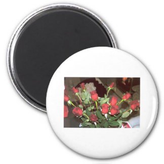 Dozen Red Roses Fire Romantic Setting Photo Art 2 Inch Round Magnet