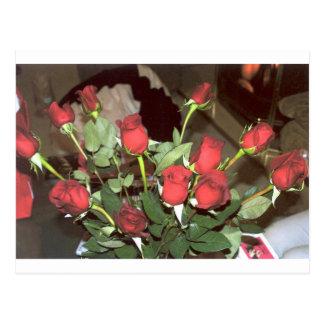 Dozen Red Roses Fire Romantic Setting Photo Art Postcards