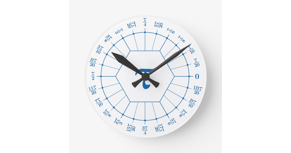 Dozenal Tau Unit Circle Clock Zazzle Com