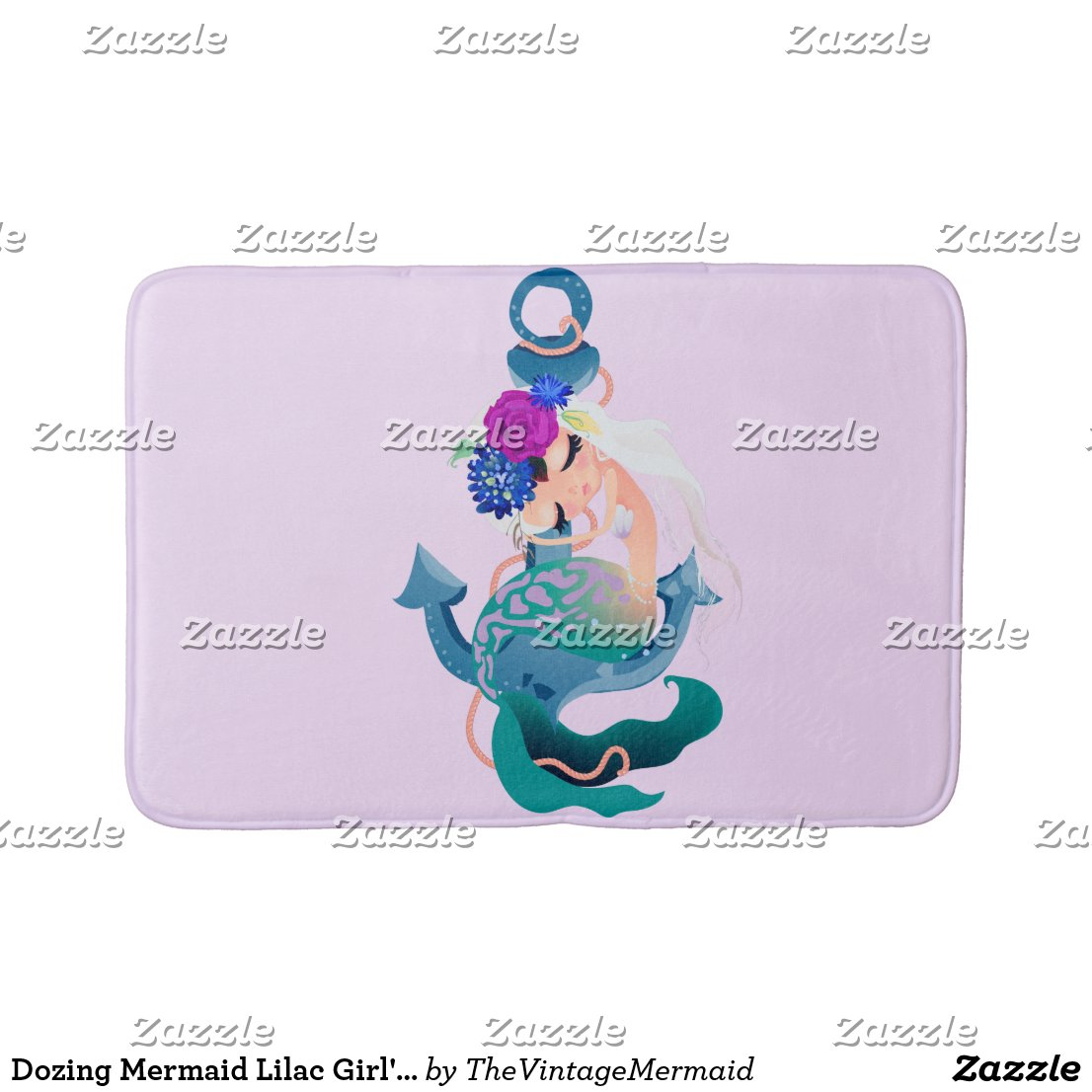 Dozing Mermaid Lilac Girl's Bath Mat