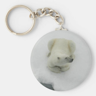 Dozing Polar Bear Basic Round Button Keychain