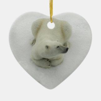 Dozing Polar Bear Ceramic Ornament