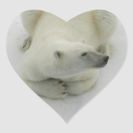 Dozing Polar Bear Heart Sticker