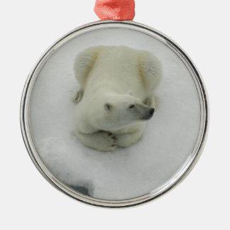 Dozing Polar Bear Metal Ornament