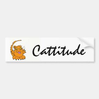 DP- Crazy Cat Cattitude Sticker Bumper Sticker