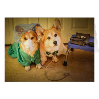 Dr Corgi and Nurse Feel Better Soon Card