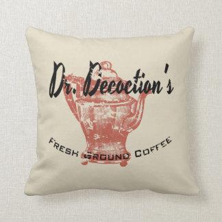Dr. Decoction's Fresh Ground Coffee Throw Pillow
