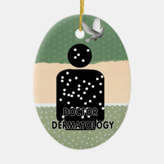 DR DERMATOLOGY SILHOUETTE LOGO Double-Sided OVAL CERAMIC CHRISTMAS ORNAMENT