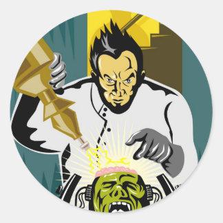 Dr. Frankenstein or mad scientist Round Stickers
