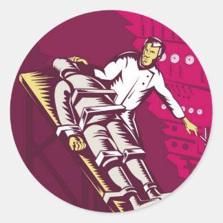 Dr. Frankenstein or mad scientist turn on switch Stickers