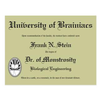 Dr. Frankenstein's diploma, postcard Postcards