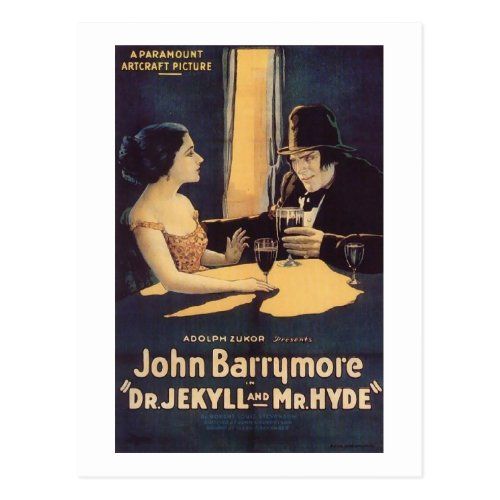 Dr Jekyll and Mr Hyde Silent Horror Movie Postcard