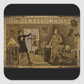 Dr Jekyll and Mr Hyde Vintage Poster Square Sticker