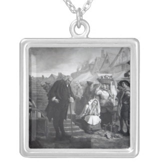 Dr. Johnson doing penance in the market place Silver Plated Necklace