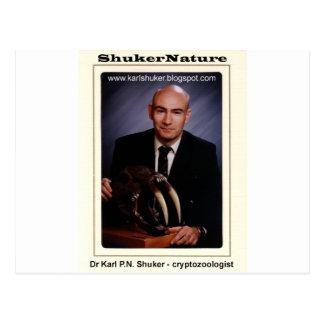 Dr Karl Shuker and Smilodon Skull - ShukerNature Postcard