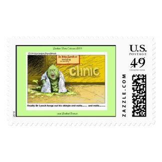Dr. Leech Hangs Out MD Shingle Real Postage Stamps