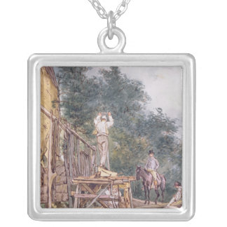 Dr. Monro inspecting his stables Silver Plated Necklace
