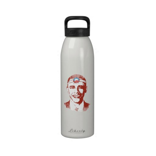 Dr. Obama red Faded.png Water Bottles