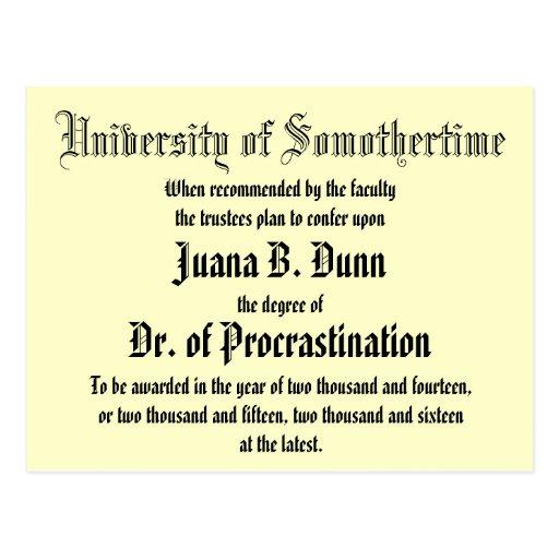 Dr. of Procrastination, postcard Postcard