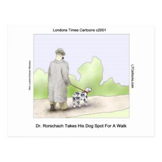 Dr Rorschach Takes Dog Spot 4 A Walk Funny Postcard